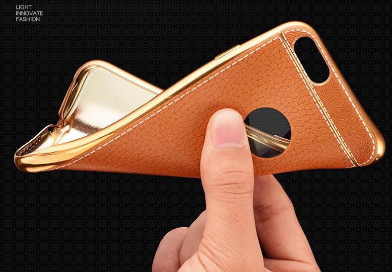 فاخر رقيقة جدا ثلاثية الأبعاد الليتشي الجلود الحبوب الهاتف حقيبة لهاتف أي فون 7 8 5 5s SE 6 S 6 S Plus X تصفيح لينة سيليكون الغطاء الخلفي كابا