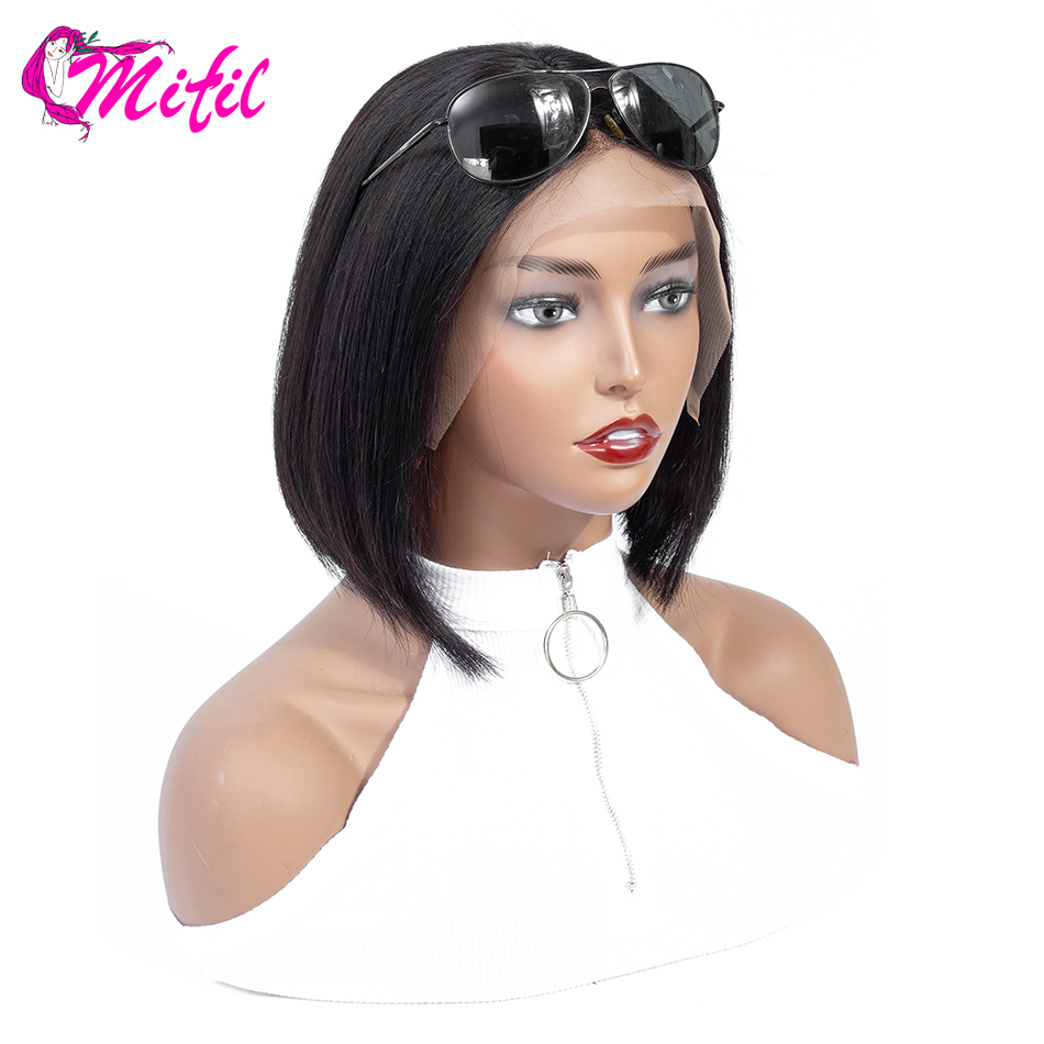 Mifil Hair 13x4 Brazilian Lace Front Human Hair Wigs For Black Women Natural Color Remy Bob