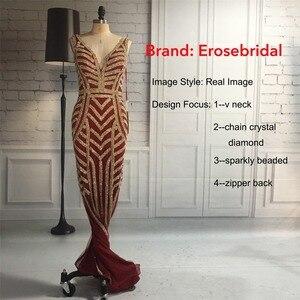 Image 5 - Erosebridal 48 Uur Verzending Bourgondië Lange Avondjurk Plus Size Mermaid Avondjurken Gold Crystal Vestido De Festa ZLR014