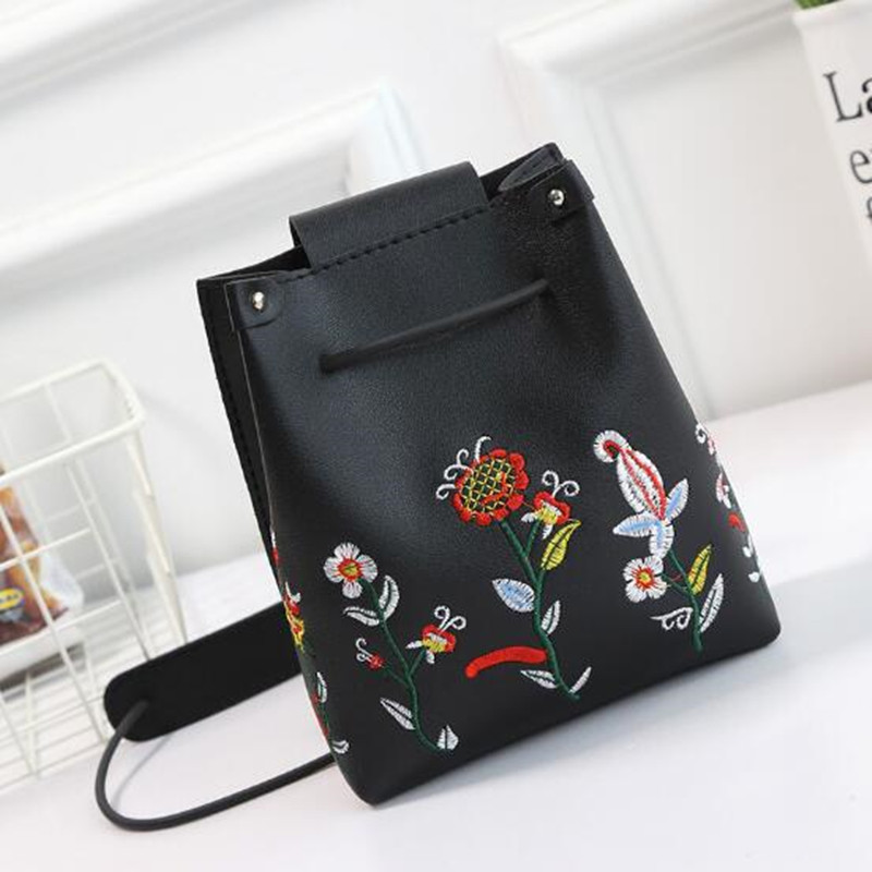 Women Floral Embroidery Bucket Mini PU Leather Shoulder Bag Flower Drawstring Bag Crossbody Bags for Women Handbag ZX221401 flower princess embroidery chian bags women bucket nylon adjustable bag woman floral shoulder crossbody bags messenger bolsas