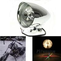 """In Alluminio Billet cromato H4 Lampadina LED 4 1/2 """"Moto Personalizzato Faro Del Motociclo Faro per Harley Big Twin Sportster XL su"""