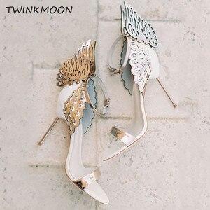 Image 3 - נשים high end ורוד פרפר סנדלי מתכת פגיון העקב מתכתי מגזרות משאבות בלינג בלינג קריסטל סלבריטאים חתונה נעליים