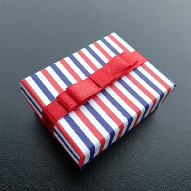 DoreenBeads Wholesale Jewelry Boxes Navy Striped Red Bowknot Necklace Bracelet Gift Box Display New Year 9 * 7 * 2.7cm 1 Piece