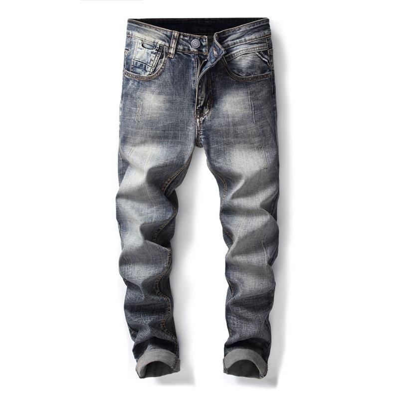 New fashion classic causal jeans men slim straight denim pants stretch scratch retro blue trousers jean homme regular streetwear