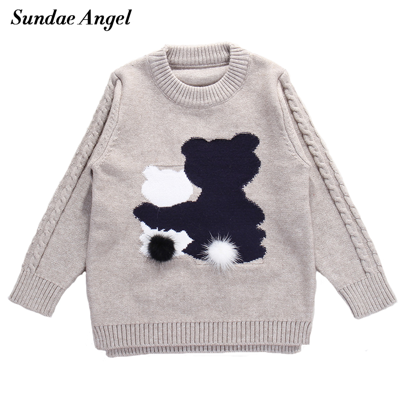 все цены на Sundae Angel Kids Sweater Autumn&Winter Cartoon Bear Round Neck Cute Long Sleeve Sweater For Children Sweater 9M-3Years