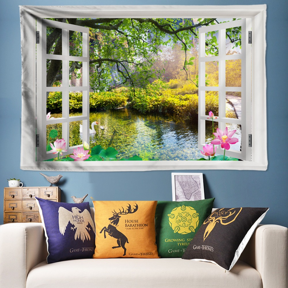 Chic Pond Lotus Decorative Tapestries Bohemia Tapestry Wall Hanging Boho Hippie Art Rug for Living Room 200*300cm