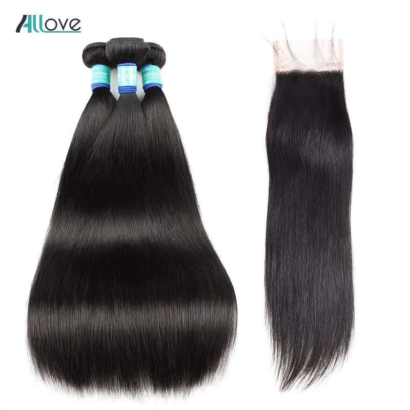Allove Malaysian Hair Bundles With Closure Remy Hair Swiss Lace Closure With Bundles Straight Human Hair