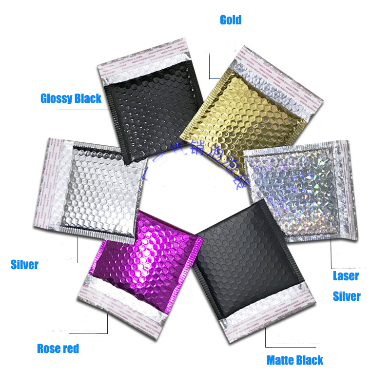 SODIAL 50Pc Packaging Shipping Bubble Mailers Gold Paper Padded Envelopes Gift Bag Bubble Mailing Envelope Bag 15x13Cm+4Cm