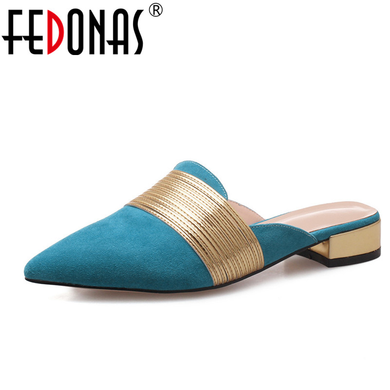 FEDONAS New Fashion Close Toe Summer Shoes For Women High Quality Low Heels Comfort Slippers Loafter Shoes Woman Elegant Sandals fedonas brand women summer gladiator low heeled sandals fashion comfort slippers genuine leather elegant shoes woman sandals