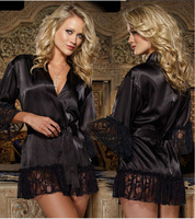 Sexy Lingerie Black Silk Lace Belt Bathrobes Sleepwear Women Night Underwear Set