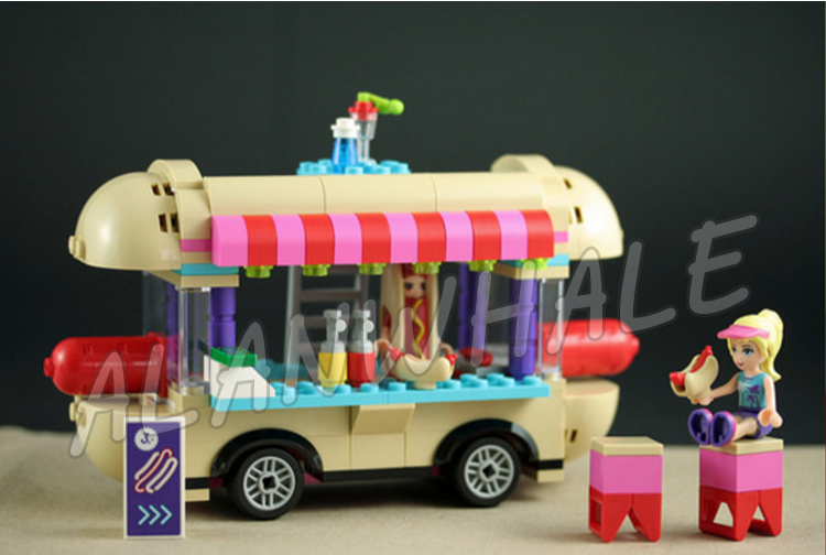 249pcs Friends 10559 Girls Princess Amusement Park Hot Dog Van DIY 3D Blocks AlanWhale Toy Gift Compatible With Lego