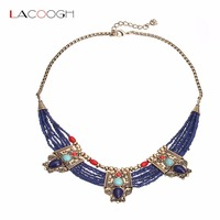 Lacoogh Vintage Style Ethnic Blue Beads Bib Necklaces Egyptian Necklace For Women Collar Necklace Jewelry Bijoux
