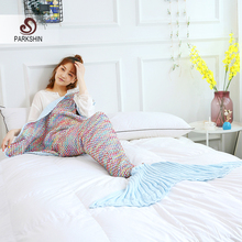 Parkshin Mermaid Tail Blanket Yarn Knitted Handmade Crochet Mermaid Blanket Adult Kids Super Soft Sleeping Blanket Wholesale