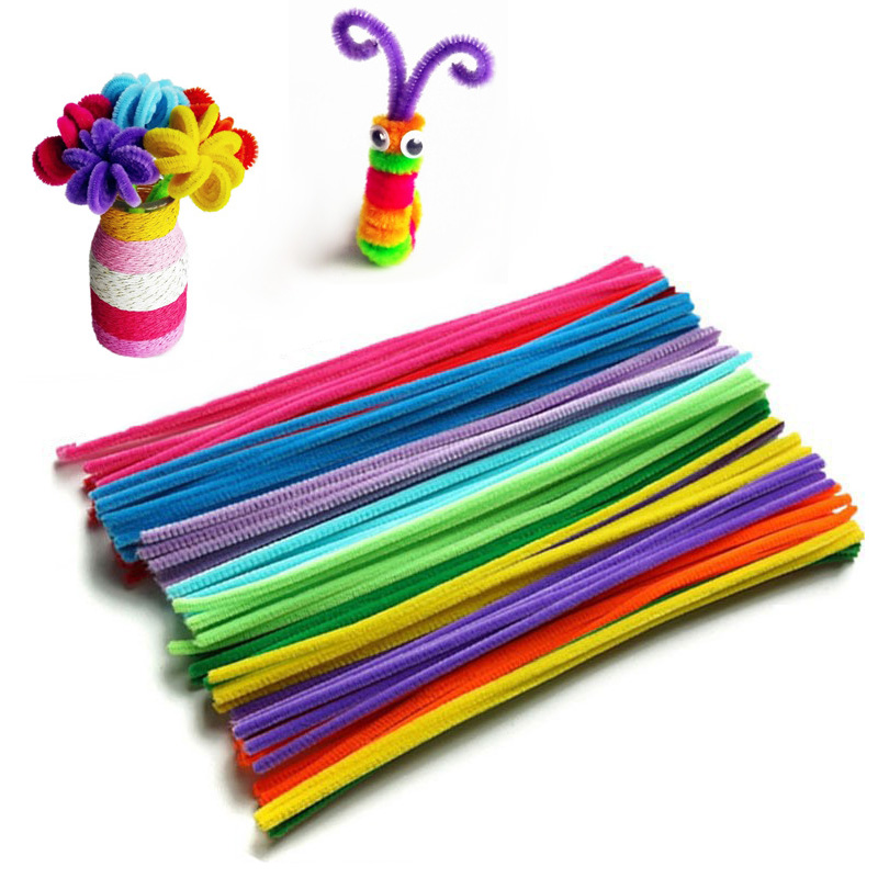 100pcs/set Montessori Materials Chenille Children Educational Toy Crafts For Kids Colorful Pipe handmade DIY Intelligence Toys