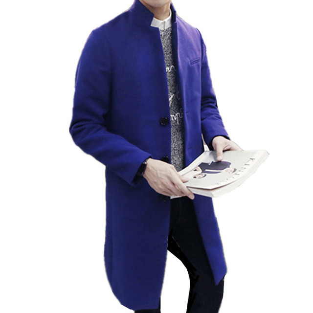 869a41bc1113 2018 autumn/winter fashion new men leisure pure color trench coat / man's  single-breasted long windbreaker Wool Blends