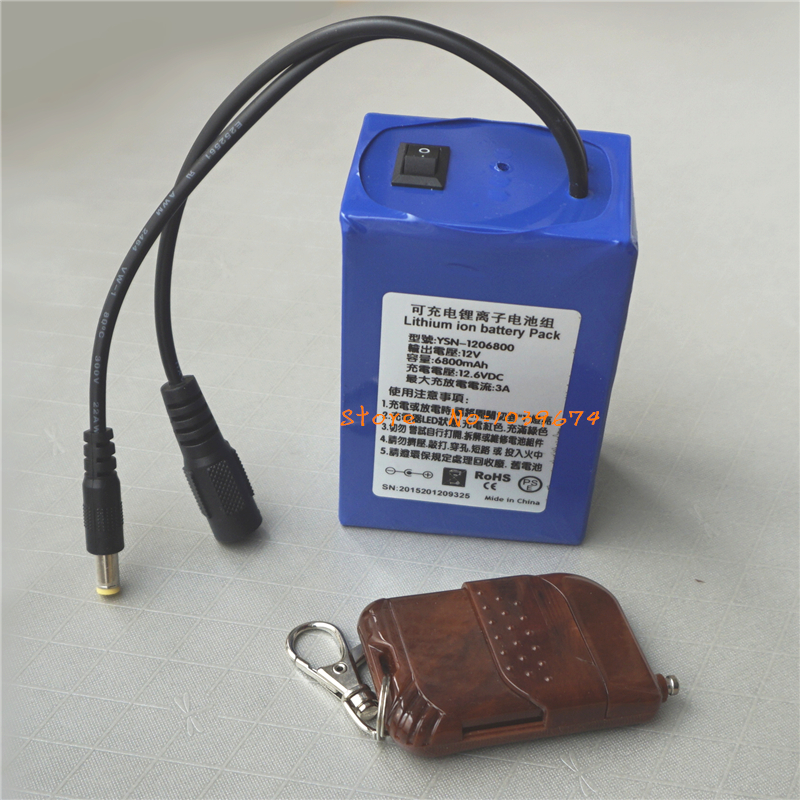 <font><b>12V</b></font> Remote Control 6800MAH <font><b>3AH</b></font> Lithium-ion Rechargeable <font><b>Batteries</b></font> for Power Bank with FREE Charger & DIY Connector image