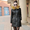 New 2016 Autumn And Winter Women Leather Parkas Coat Down Jacket Slim Korean Long Hoody Leather Cotton Jacket Thicken PU Down