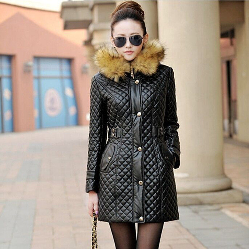 New 2016 Autumn And Winter Women Leather Parkas Coat Jacket Slim Korean Long Hoody Leather Cotton Jacket Thicken PU Jacket