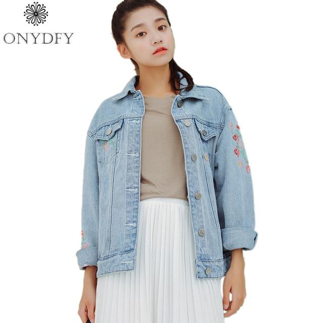 2017 Новая Мода Осень Куртка WomanBasic Пальто Vintage Цветочной Вышивкой Джинсы Куртки Chaquetas Mujer Jaqueta Feminina