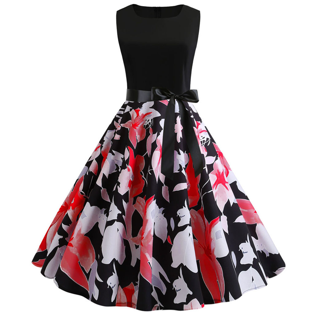 Women Fashion Butterfly Floral Vintage Pleat Swing Dresses Summer Sleeveless Zipper Sashes Dress Retro Party Dresses#G2