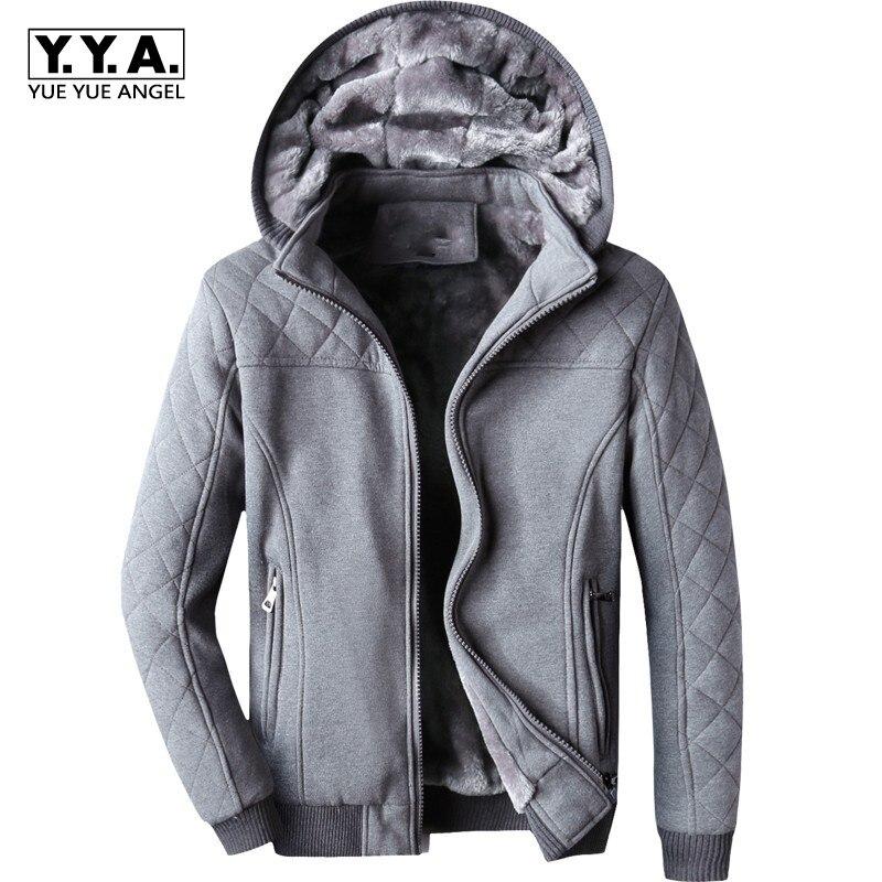 Korean Slim Fit Mens Hooded Coat Casual Winter Fur Lining Warm Streetwear Male Cotton Long Sleeved Sweatshirts Outwear Overcoats