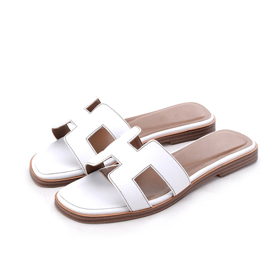 Summer fashion H women slippers ladies luxury designer sandals real cowhide shoes flat slippers shoes womenSummer fashion H women slippers ladies luxury designer sandals real cowhide shoes flat slippers shoes women