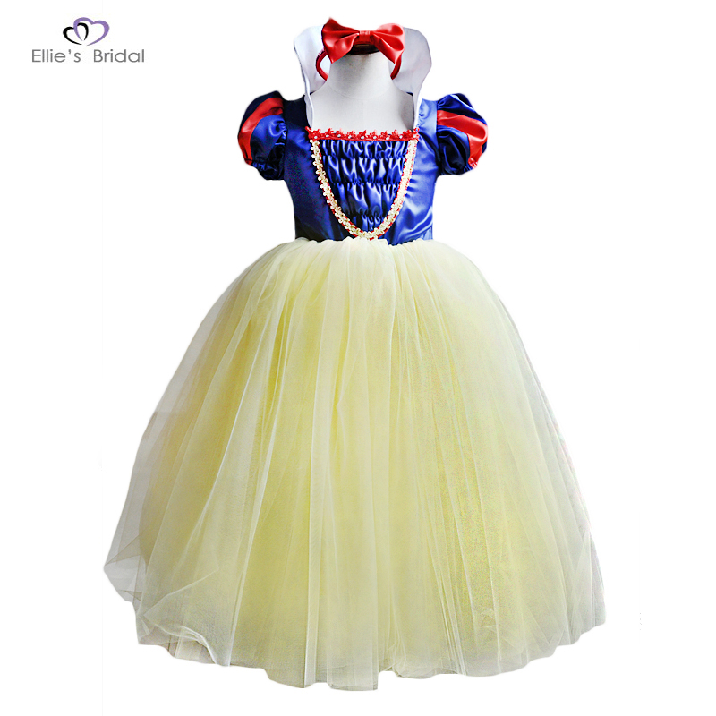 Ellies Bridal 2018 Girl Snow White Princess Dresses Satin Kids Ball Gowns Halloween Chirstmas Girl Party Dress Cosplay Costume акустика центрального канала heco elementa center 30 white satin