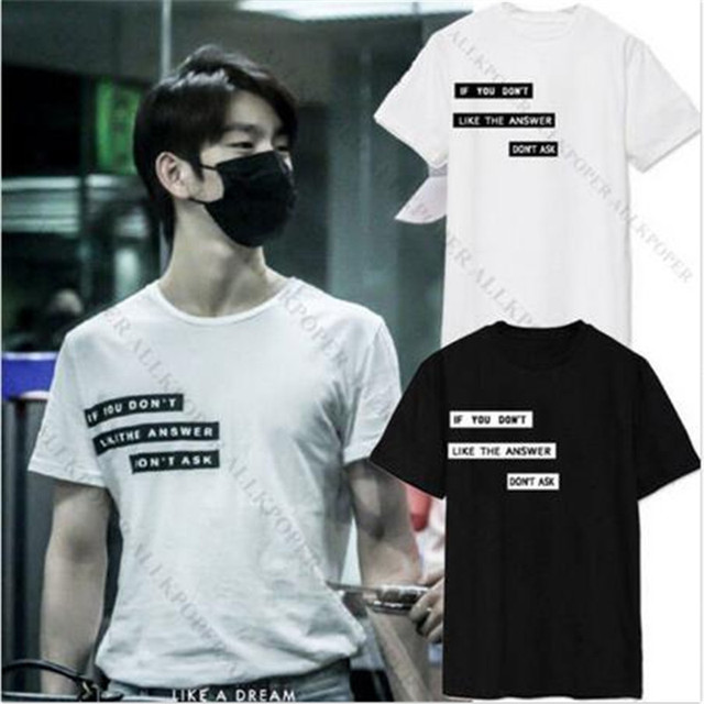 US $10 43 13% OFF|Kpop Got7 t shirt harajuku t shirts off white unisex  tshirt summer 2017 women Tops plus size Tee JR Airport same style-in  T-Shirts