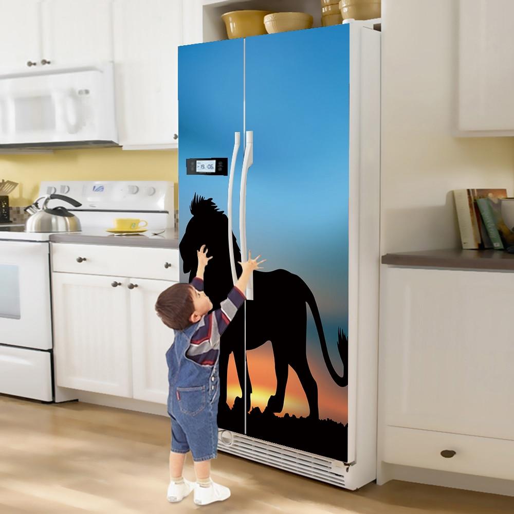 yazi Lion Self adhesive PVC Double Door Fridge Sticker Waterproof ...