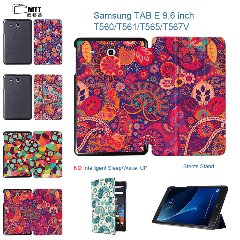 MTT Print Paisley Flower Leather case For Samsung Galaxy Tab E 9.6 inch Flip stand cover for Samsung Tab SM-T560 SM-T561 sleeves keymao luxury flip leather case for samsung galaxy s7 edge