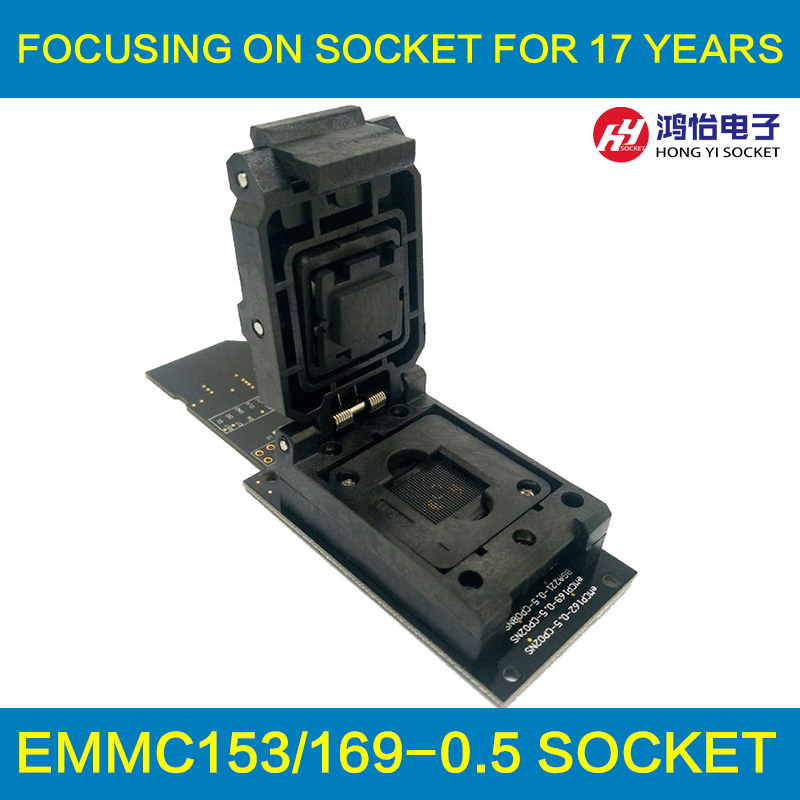 eMMC test socket with SD Interface,Clamshell Structure BGA153 BGA169 Chip Size 12x18mm Pitch 0.5mm for data recovery emmc programmer socket emmc153 emmc169 reader clamshell structure bga153 bga169 chip socket data recovery date backup repair
