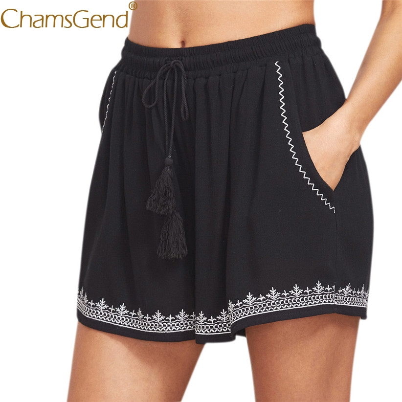 Print Shorts Tassels-80712 High-Waist Summer Casual Women with Black