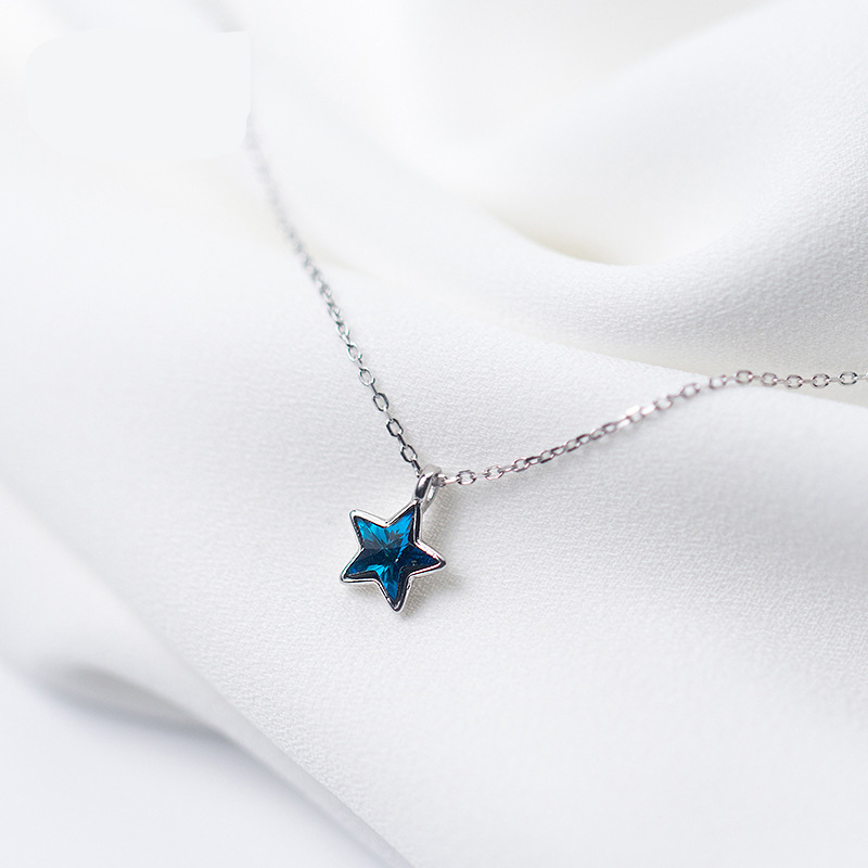 100% 925 Sterling Silver Shiny Star Charm Pendant Necklace Boho Jewelry Cubic Zirconia Charm Choker Necklaces for Women Bijoux