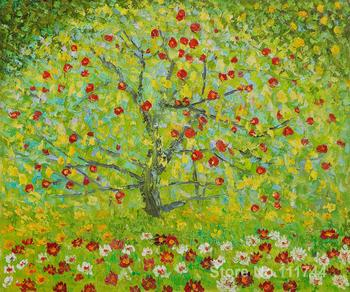 The Apple Tree Gustav Klimt landscape paintings living room decor Handmade High quality