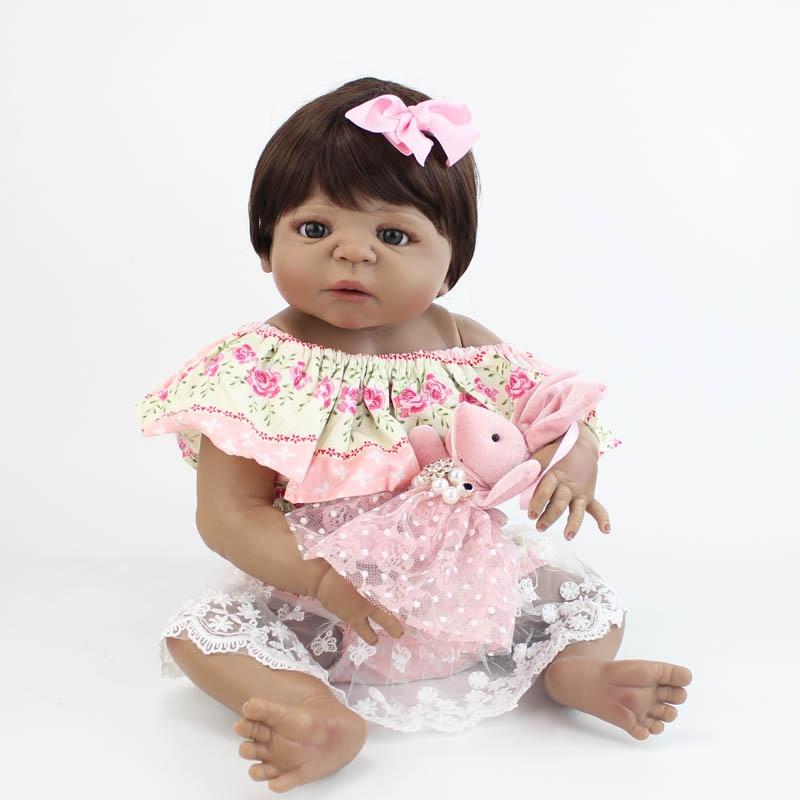 55 cm Silicone Reborn bébé poupée jouet pour fille réaliste vinyle peau noire nouveau-né princesse bambin bébés Bebe cadeau d'anniversaire