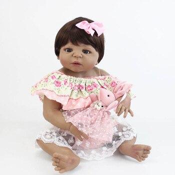 55cm Full Silicone Reborn Baby Doll Toy For Girl Lifelike Vinyl Black Skin Newborn Princess Toddler Babies Bebe Birthday Gift