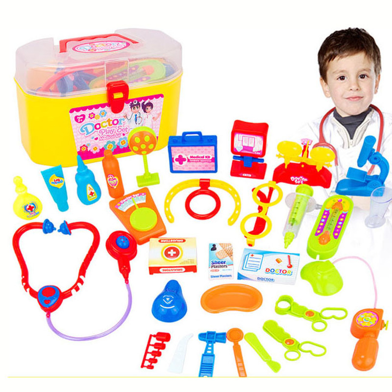 30 Pcs Set Play House Children Doctor Toy Set Simulation Medical Tool Kit Kids Educational Role Play Classic Toys Portable Suit in Doctor Toys from Toys Hobbies
