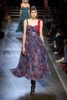 High quality design mesh slip dress New 2018 spring summer runway Camisole dress Fashion women party dress S319