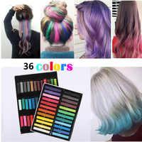 Цветные мелки для волос, 36/24 шт., цветные мелки для волос, пудра для временных татуировок, многоцветная краска, одноразовая, мягкая, для красо...