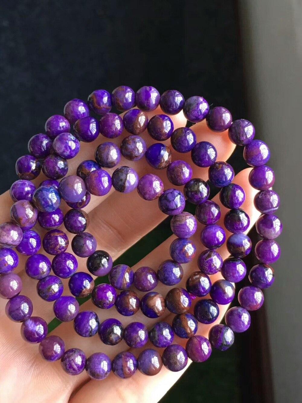 Genuine Natural Blue Purple Sugilite Gemstone Crystal Round Bead Stretch Bracelet 6.5mm Women Femme Charms Bracelet AAAAAGenuine Natural Blue Purple Sugilite Gemstone Crystal Round Bead Stretch Bracelet 6.5mm Women Femme Charms Bracelet AAAAA