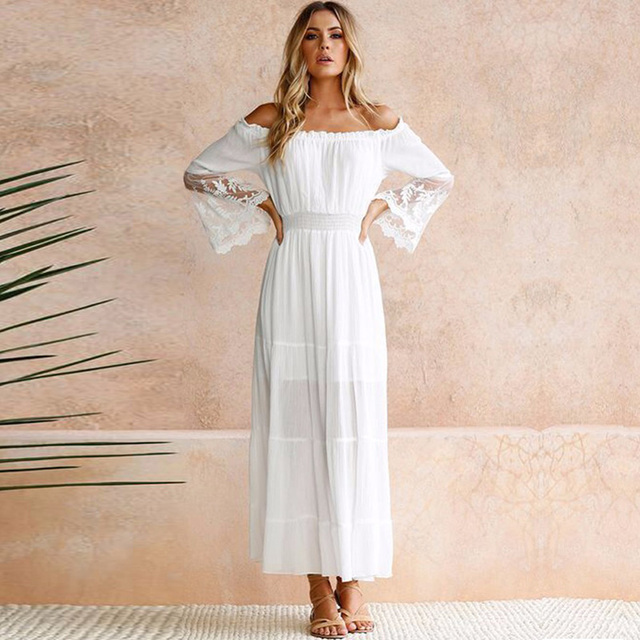 9a937fb0457 Summer Sundress Long Women White Beach Dress Strapless Long Sleeve Loose  Sexy Off Shoulder Lace Boho Cotton Maxi Dress ~~gai