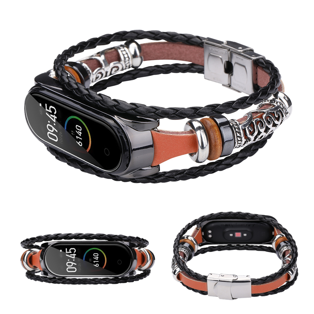 Vintage Leather Bracelet For Mi Band 4 Mi Band 3 Strap Retro Wristband For Xiaomi Mi Band 4 Nfc Weave Rope Bands For MiBand 4 3