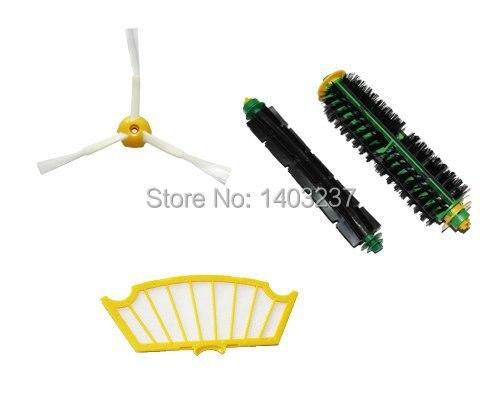 Side Brush, Flexible Beater Brush, Bristle Brush, Filter Mini Kit 3 Armed for iRobot Roomba 500 Series Vacuum Cleaner Accessory brush 3