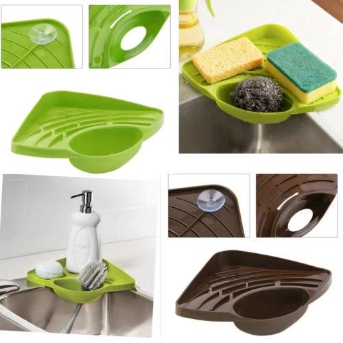 1pc Kitchen Sink Corner Storage Rack Sponge Holder Home Bathroom Soap Dish Kitchen Tool Storage Trays Aliexpress