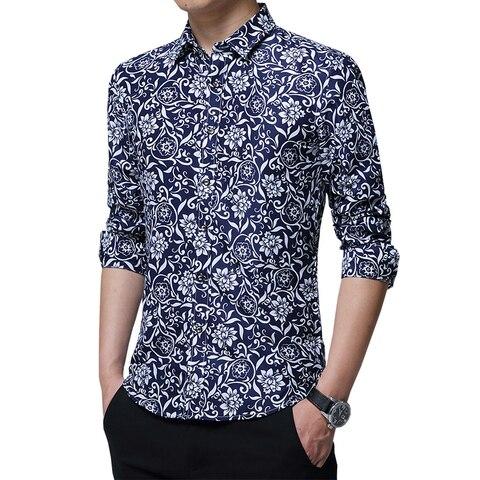 HCXY 2019 autumn New mens work shirts Brand Long sleeve Floral Printed men dress shirts Social male shirts 5XL camisa  masculina Multan