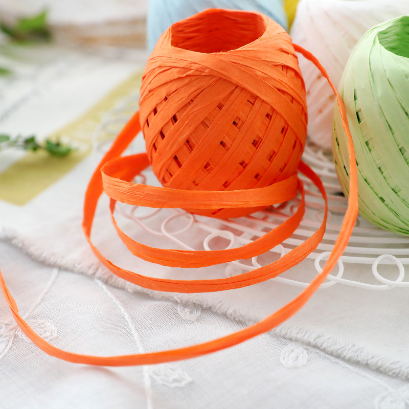 C-Pioneer 20M Raffia Paper Ribbon Decoration Flowers Gifts Crafts Scrapbooks 13 Colors Red