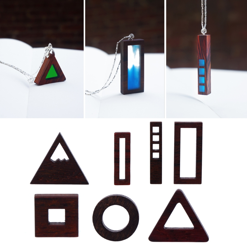 Geometry wood Pendant Charm Mold For DIY Jewelry Making Crafts Findings