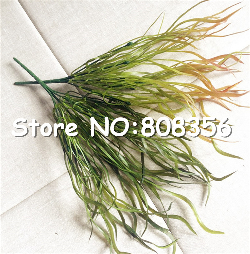 50pcs Plastics Greenery Artificial Long Leaf Grass Bunch Fake Wicker Flat Grasses Green Plant 14 96