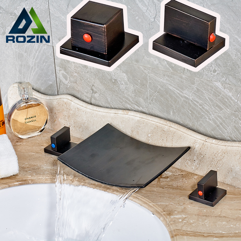Deck Mounted Bath Waterfall Spout Bathroom Basin Sink Taps Dual Handle Oil Rubbed Bronze Hot and Cold Mixer Faucet