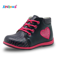 Apakowa Cute Girls Boots 2017 New Fashion Love Heart Crystal Kids Shoes Baby Toddler Girls Boots